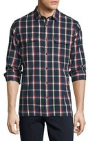 Vince Plaid Flannel Military Shirt, Blue/Red