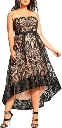 City Chic Embroidered Attraction High/Low Cocktail Dress