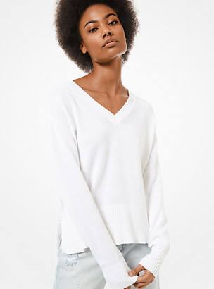 MICHAEL Michael Kors MK Cotton and Cashmere Sweater - White - Michael Kors