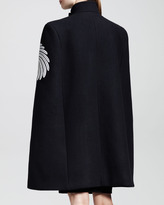 Stella McCartney Flower-Feather Embroidered Cape Coat