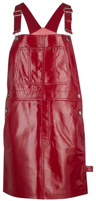 Manley Alexa Patent Leather Dungaree Dress - Red