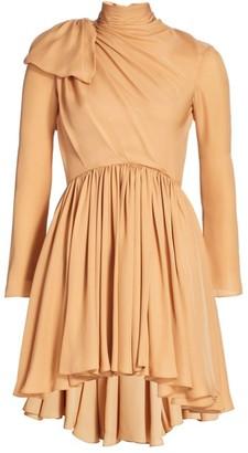 KHAITE Constance Gathered Silk Fit-&-Flare Dress