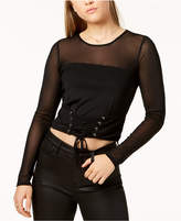 Material Girl Juniors' Long-Sleeve Mesh Corset Top, Created for Macy's