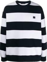 Acne Studios logo patch striped sweatshirt