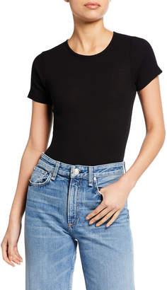 RE/DONE Scoop-Neck Short-Sleeve Rib Tee Bodysuit