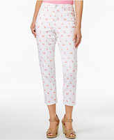 Charter Club Petite Bristol Flamingo-Print Capri Jeans, Only at Macy's