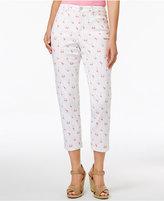 Charter Club Petite Bristol Flamingo-Print Capri Jeans, Only at Macy's