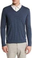 Loro Piana Ryder Cup Scollo V-Neck Bicolor-Wash Virgin Wool Sweater, Navy