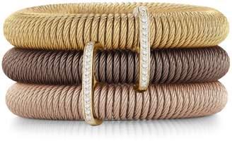 Alor Kai 18K Gold & Tri-Tone Stainless Steel Diamond Tiered Coiled Bangle Bracelet
