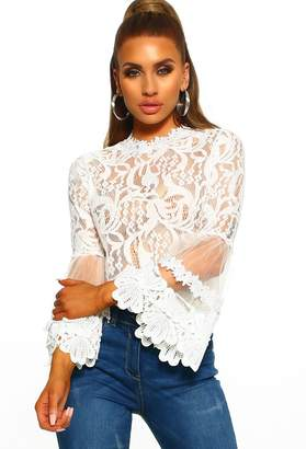Pink Boutique Lace Dream White Lace Long Sleeve Top