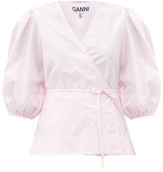 Ganni Blouson-sleeve Cotton-poplin Wrap Top - Light Pink