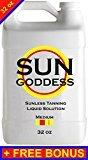 Sun Goddess - MEDIUM - 32 oz - Sunless Self Tanning liquid Solution / Spray Tan Solution + FREE BONUS: Sunless Self Spray Tanning Applicator Mitt & Gloves + 10 Sunless Self Tanning Lotion Tan Samples