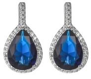 A&M A & M Silver-Tone Sapphire Accent Tear Drop Earrings