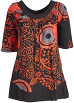 Aller Simplement Black & Orange Contrast-Trim Tunic - Plus Too