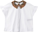 Burberry Vintage Check Detail Ruffled Sleeve Top