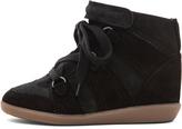 Isabel Marant Bluebel Calfskin Velvet Leather Sneaker in Faded Black