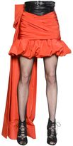 Moschino Draped Faille & Faux Leather Skirt