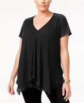NY Collection Petite Plus Size Draped Chiffon-Contrast Blouse, Created for Macy's