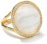 Ippolita 18kt yellow gold medium Lollipop diamonds mother-of-pearl and clear quartz ring