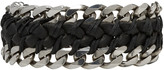 Emanuele Bicocchi Black Braided Leather and Chain Bracelet