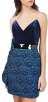 Topshop Women's Velvet & Jacquard Minidress
