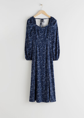 And other stories Floral Smocked Panel Midi Dress