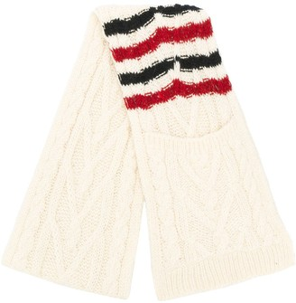 Thom Browne Aran cable stripe scarf