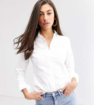 Asos Tall DESIGN Tall long sleeve fitted shirt in stretch cotton-White
