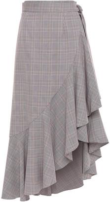 Paper London Lagos Ruffled Prince Of Wales Checked Midi Skirt