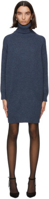 Max Mara Blue Wool Greenh Turtleneck Dress