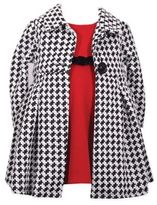 Bonnie Baby Red Dress with Houndstooth Knit Coat