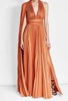 Elie Saab Asymmetric Pleated Lame Dress