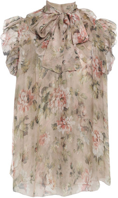 Zimmermann Pussy-bow Ruffle-trimmed Floral-print Silk-chiffon Blouse