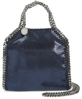 Stella McCartney 'Tiny Falabella' Metallic Faux Leather Crossbody Bag - Blue