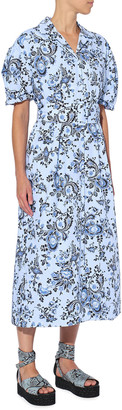 Erdem Frederick Floral Vine-Print Midi Shirtdress