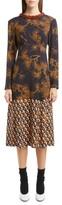 Dries Van Noten Women's Beaded Neck Print Midi Dress