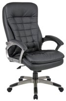 BOSS High Back Executive Chair w/ Pillow top Pewter Finished Base & Arms