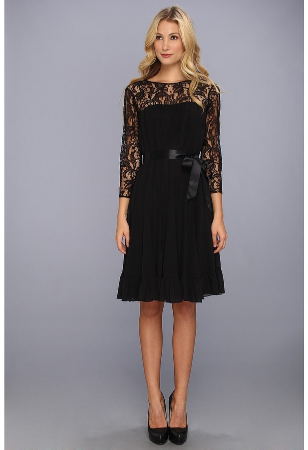Adrianna Papell Lace Chiffon Flare Dress w/ Sash (Black) - Apparel
