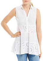 Chelsea & Theodore Eyelet Swing Blouse