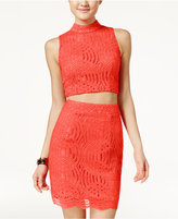 Crystal Doll Juniors' 2-Pc. Lace Bodycon Dress