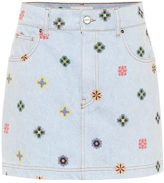 Kirin Printed high-rise denim miniskirt