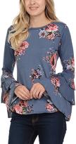 Celeste Indigo Flower Bell-Sleeve Tunic - Plus