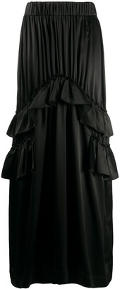 Simone Rocha Ruffle-Trimmed Satin Maxi Skirt