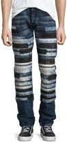 PRPS Horizontal-Patchwork Relaxed-Slim Jeans, Indigo