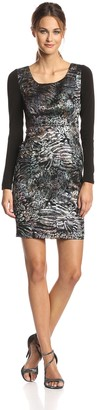 Tracy Reese Women's Abstract Jacquard Long Sleeve Contrast Dress