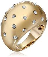 Chamak by Priya Kakkar Gold Plated Crystal Dots Round Raised Ring, Size 7