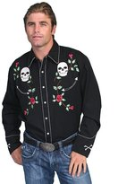 Scully Men's Skull And Roses Embroidered Retro Western Shirt
