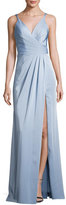 Faviana Sleeveless Ruched Stretch Taffeta Gown, Blue