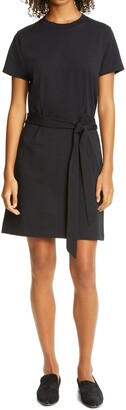 Vince Tie Waist Cotton T-Shirt Dress