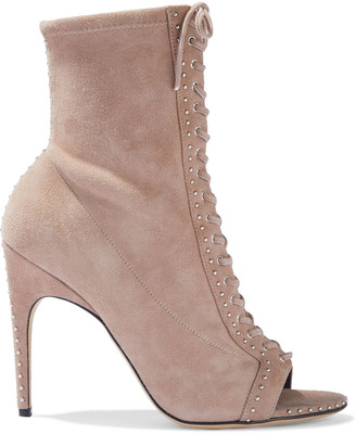 Sergio Rossi Micro Studs 105 Lace-up Suede Ankle Boots